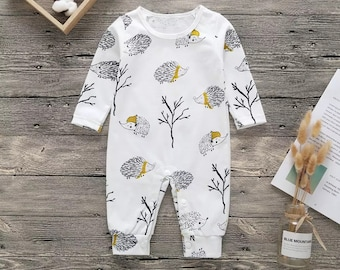 Long Sleeve Cotton Rompers for Baby Boys and Girls Fashion Norway Dog Paw Jumpsuit