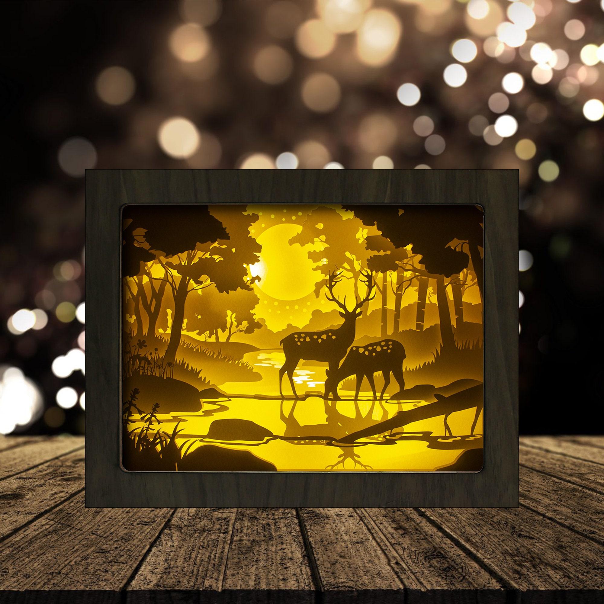Deer For Cricut Shadow Box SVG Digital Download Files SVG Digital Download Files 3D Paper Cut Light Box Template