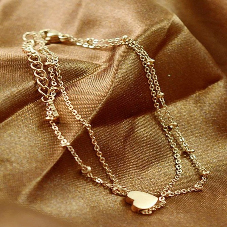 Heart Detail Layered Chain Anklet