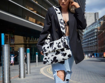 UK MADE Faux Fur Cow Print Satchel Bag, Super Soft 90's Style Bag. Vegan Hand Bag. Free UK Post. Same Day Dispatch. Made in Great Britain.