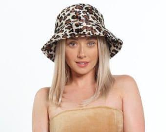UK MADE Faux Fur Leopard Print Bucket Hat, Super Soft 90's Style Hat. Animal Print Sun Hat. Fisherman's Hat. Same Day Dispatch