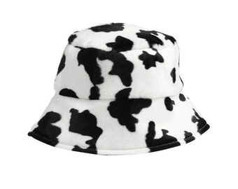 UK MADE Faux Fur Cow Print Bucket Hat, Super Soft 90's Style Hat. Animal Print Sun Hat. Fisherman's Hat. Same Day Dispatch
