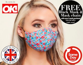 TRIPLE LAYER Face Mask, Filtered Face Mask, Cloth Fabric Face Mask, Adjustable + Nose Wire Face Mask. Washable Face Mask. Reusable Face Mask