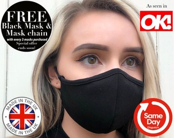 Face Mask TRIPLE LAYER. Made in UK Face Mask. Adjustable + Nose Wire Face Mask. Filter Face Mask. Washable Face Mask. Reusable Face Mask U.K