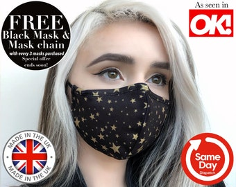 PRINTED TRIPLE LAYER Face Mask. Made in U.K Face Mask. Adjustable + Nose Wire Face Mask. Filtered Face Mask. Washable Face Mask. Reusable