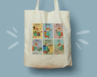 Zero Waste Principles Eco Tote Bag Tote Bag, Reusable Bag, Shopping Bag, Zero Waste Bag, Eco Friendly Bag, Fox Illustration   Aware Animals