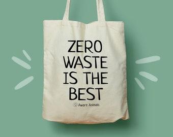 Zero Waste Is The Best Tote Bag, Reusable Bag, Shopping Bag, Zero Waste Bag, Eco Friendly Bag, Fox Illustration   Aware Animals