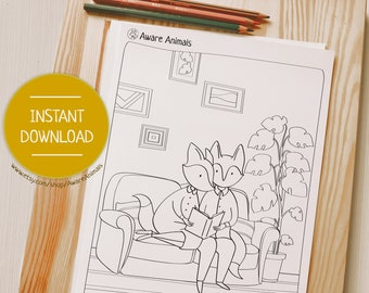 Coloring Page, Animals Illustration, Coloring Sheet, Coloring Comics, Fox, Couple Art, Fox Art, Adult Coloring book page   Aware Animals