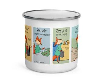 Zero Waste Principles Enamel Mug, Eco Friendly Gift, Zero Waste, Fox Illustration, Fox Lover Gift   Aware Animals