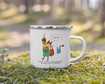 I said NO Enamel Mug, Eco Friendly Gift, Zero Waste, Fox Illustration, Fox Lover Gift   Aware Animals