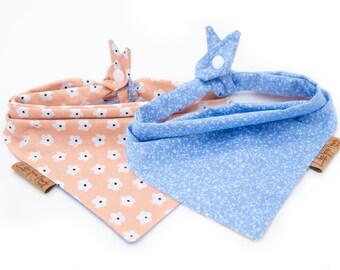 Snap Clip Baby Bandana Navy Dog Bandana Blue Prints Reversible Snap On Bandana Blue Pet Bandana Blue Cat Bandana Snap Button