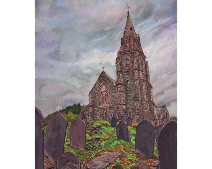 Framed Original Oil Painting, North Wales Church painting