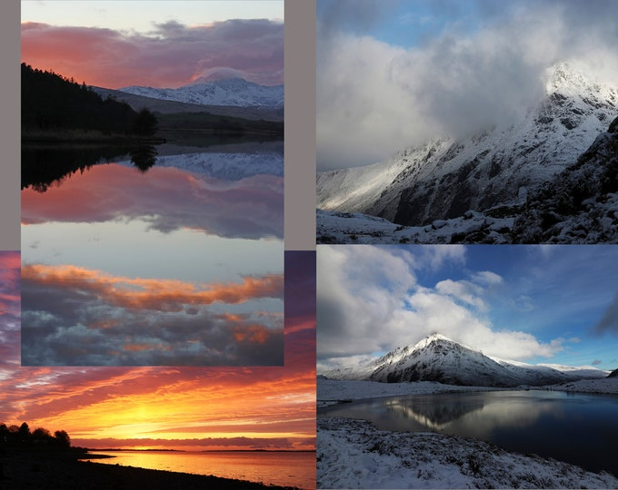 North Wales Snowdonia landscapes, set of 4 Fine Art greetings cards.