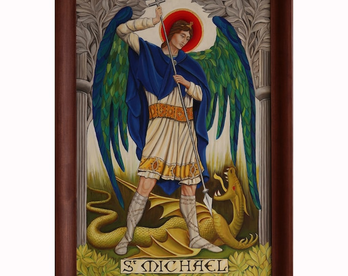 Large Framed St Michael Oil Painting, St Michael Icon