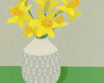 Daffodil painting, an original still life painting in Acrylics by Nicola Bond