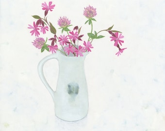 Original flower painting, Pink Campions & Red Clover, a still life painting by Nicola Bond
