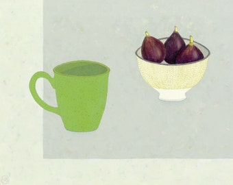 Original painting in Acrylics, Pea Green Mug & Bowl of Figs