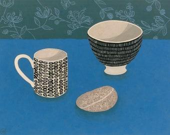 Still life painting, Cornish Pebble with Mug & Bowl on Blue, an original painting by Nicola Bond