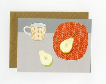 Illustrated blank greeting card, Pear with orange plate and mug, from an original painting by Nicola Bond
