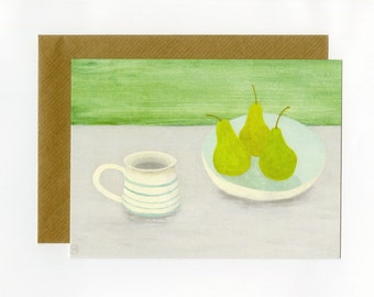 Artist greeting card, Green striped mug with Pears, from an original painting by Nicola Bond