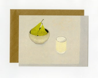 Artist greeting card, Pears and beaker on soft grey, from an original painting by Nicola Bond