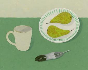 Still life painting, Pears, Feather & Mug on Dark Green, an original painting by Nicola Bond