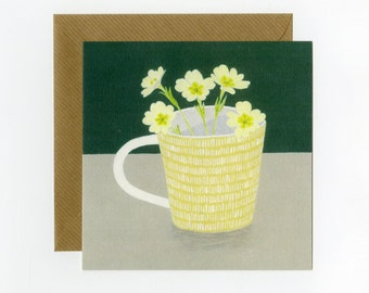 Primrose Greeting card, a blank card from and original painting by Nicola Bond