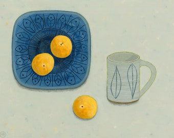 Still life painting, Troika Plate with Leach Mug & Golden Plums