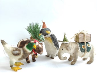 Spun Cotton animals ornament, Vintage style, Christmas decoration, Animal figurines Christmas ornaments, Set ornament