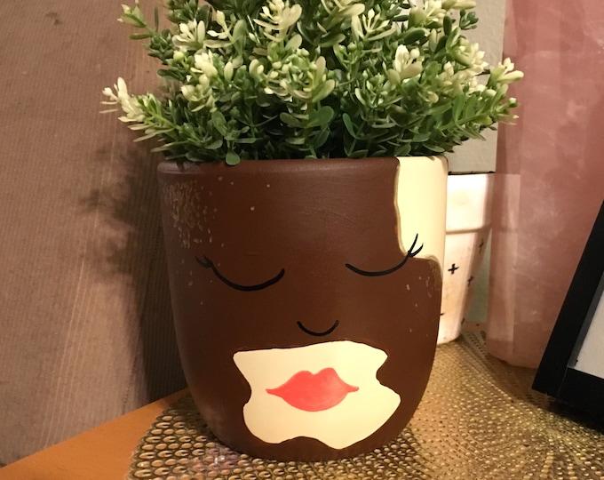 Face with Vitiligo VITILIGO FACE PLANTER Customizable Vitiligo Face Pot The Miss Harlow Planter with Face /& Lips