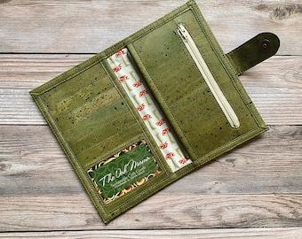 Olive Green Cork Slimline Wallet