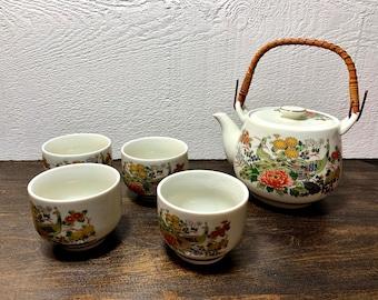 Whimsical Vintage Set Of 6 Rattan Wicker Tea Cup Saucers Boho Style Tea Set Planter Decor