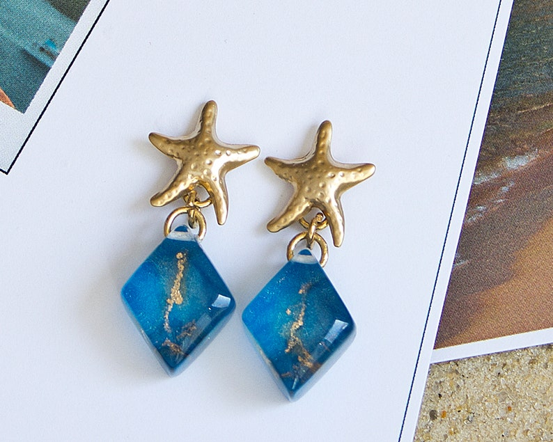 Starfish gold and royal blue resin earrings Beach jewelry for wedding can be bridal or bridesmaid earrings Bride Something Blue.