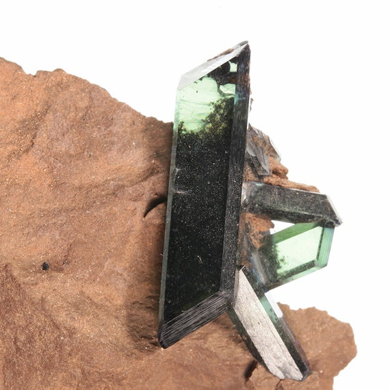 Vivianite (doubly-terminated) on matrix / Locality - Tomokoni adit, Canutillos Mine, Machacamarca District, Potosi Department, Bolivia