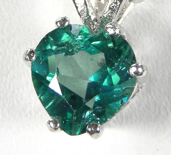Green Topaz Heart Jewelry Set (Earrings, Pendant and Ring) / Sterling Silver
