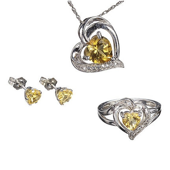 Citrine Pendant, Ring and Earrings with Sapphires in Sterling Silver