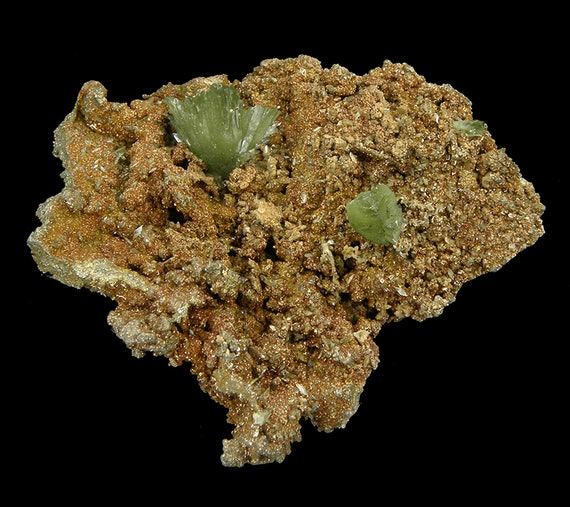 Ludlamite on Limonite and Pyrite / Locality - Huanuni mine, Huanuni, Dalence Province, Oruro Department, Bolivia