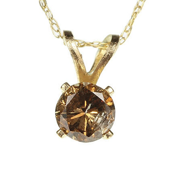 Caramel Diamond Pendant in 10kt Yellow Gold