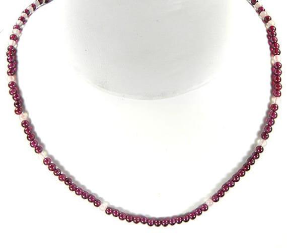 Garnet and Rose Quartz Gem Bead Necklace / 27 inches long