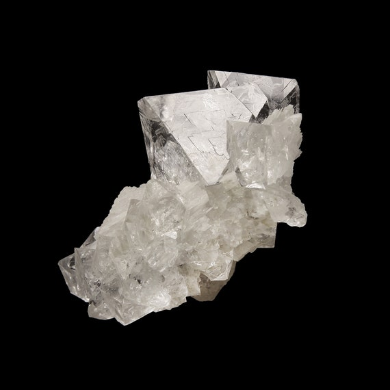 """Fluorite (GEM """"ice"""" crystals) with Calcite / Locality - Huanggang Fe-Sn deposit, Inner Mongolia Autonomous Region, China"""