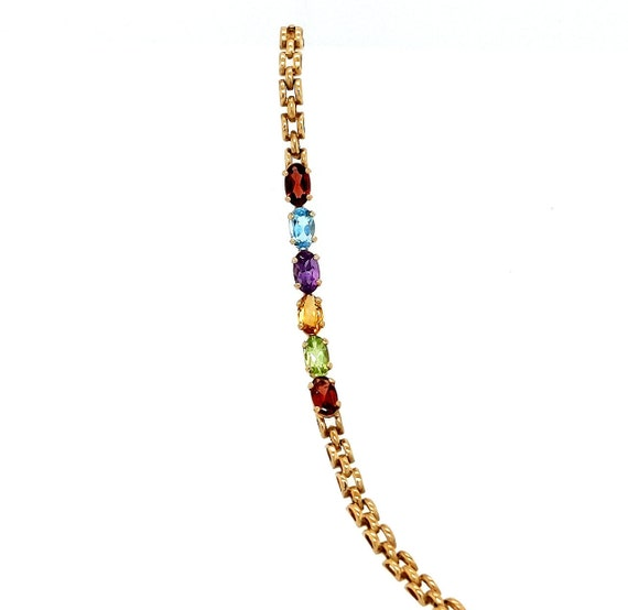 Multi-Stone Bracelet / 10kt Yellow Gold / 7.25 inches