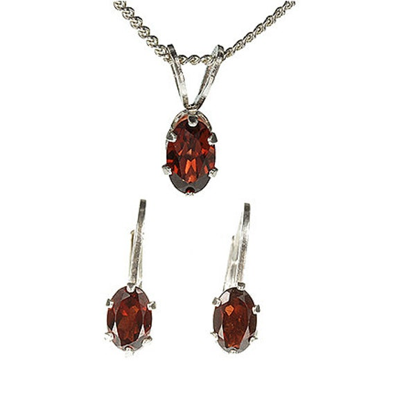 Rhodolite Garnet Earrings and Pendant Set in Sterling Silver