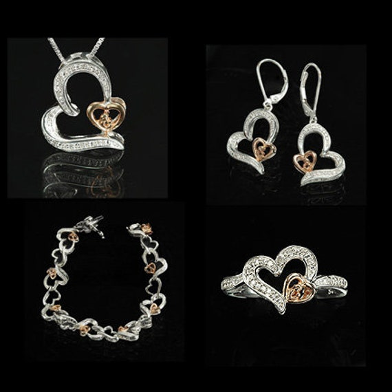"Four Piece Jewelry Set ""Mother and Child"" / (Ring, Earrings, Pendant and Bracelet) / in Silver, Nickel and Bronze with Diamonds"