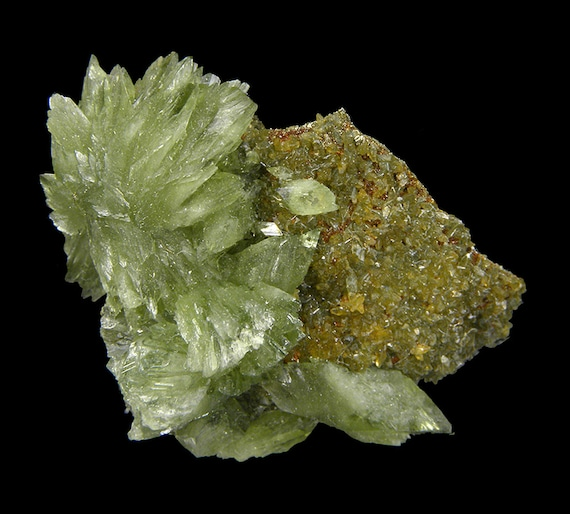 Ludlamite with Siderite on Pyrite / Locality - Huanuni mine, Huanuni, Dalence Province, Oruro Department, Bolivia