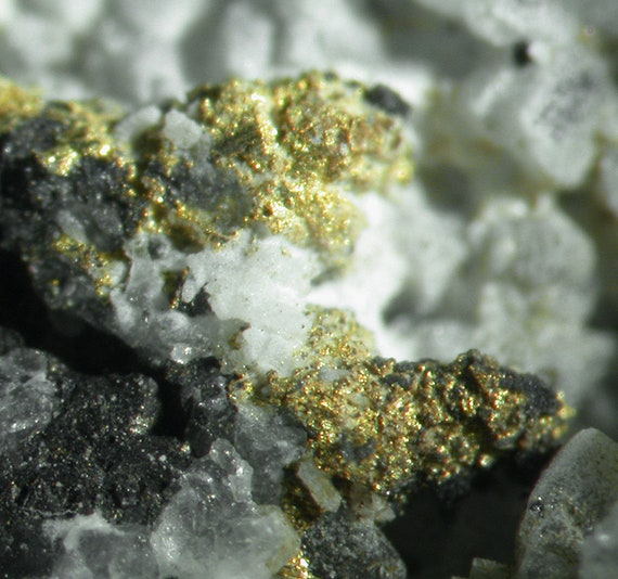 Gold with Coloradoite, Hessite and Sylvanite in Quartz / Locality - Bessie G Mine, La Plata County, Colorado