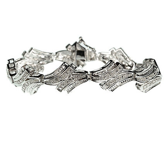 Diamond Bracelet / 7.75 inches in length / Rhodium Plating over Brass
