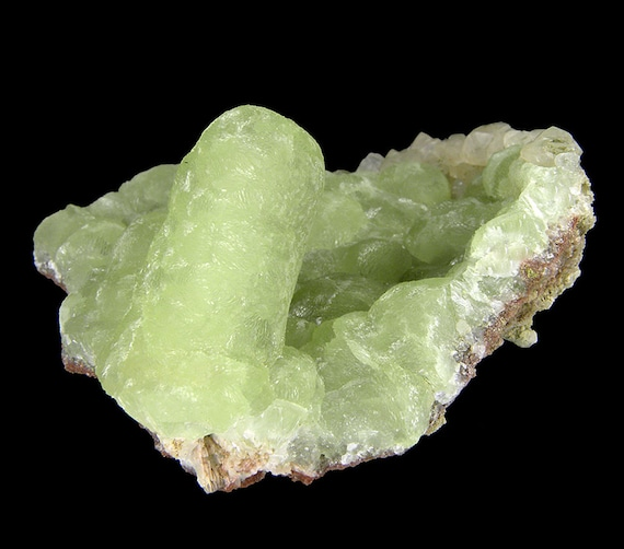 Prehnite finger cast after Anhydrite with Calcite / Locality - Prospect Park Quarry, Prospect Park, Passaic County, New Jersey