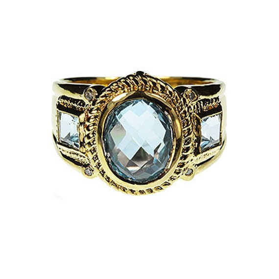 Blue Topaz and Diamond Ring / Size 8
