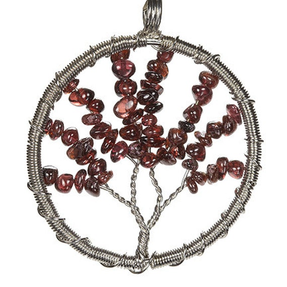 "Pendant, Wire-wrapped Garnet ""Tree"" / 6.00 ct (approx weight of Garnet)"
