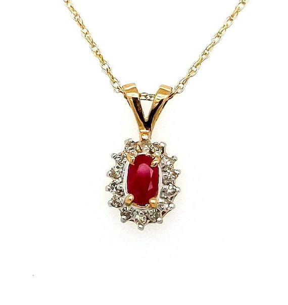 RESERVED - Ruby Pendant with Diamonds / 14kt Yellow Gold mounted/ 10 kt Yellow Gold 18 inch chain